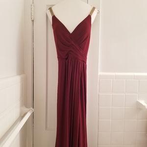 Faviana cranberry full length prom dress